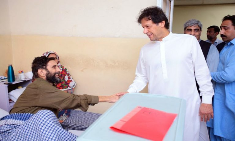 Imran Khan visits PIMS hospital on Eid day
