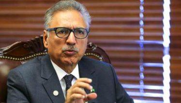 President Arif Alvi talks to Vice News