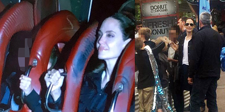 Angelina Jolie enjoys roller coaster ride