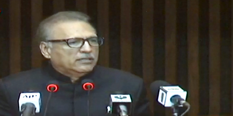 President Alvi addresses a joint parliamentary session today