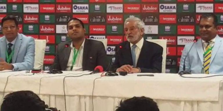 Ehsan Mani gives media briefing at National Stadium today