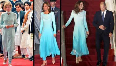 Kate Middleton wears Catherine Walker's blue collection