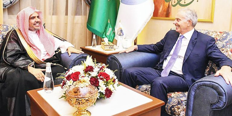 Muslim World League chief, Tony Blair discuss ways to fight ignorance and poverty